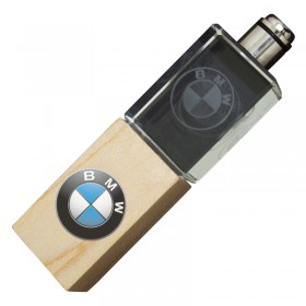 Wood 3D Engraved Glass USB